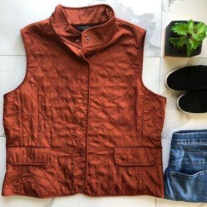 Talbots Orange Quilted Vest